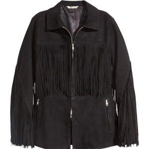 H&M Premium Black Suede Fringe Jacket